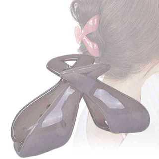 バンス クリップ まとめ髪 シンプル クロス ヘア アクセサリー クリア グレー(バレッタ/ヘアクリップ)