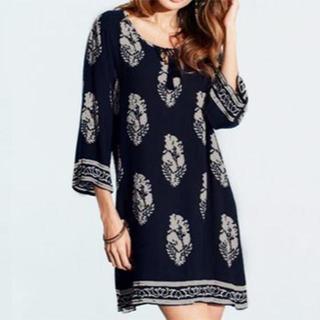 新品★5XL(大きいサイズ)紺エスニックフラワープリントシャツ(チュニック)