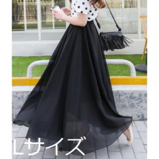 【ブラック/L】3層100Dシフォンチュールスカート(ロングスカート)