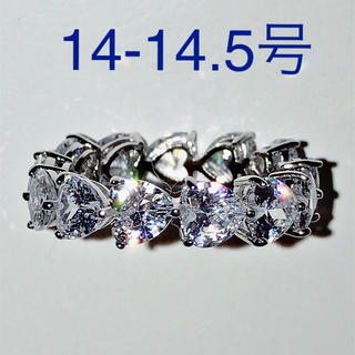 新品14号 5A CZダイヤモンド ハートシェイプ フルエタニティ リング(リング(指輪))