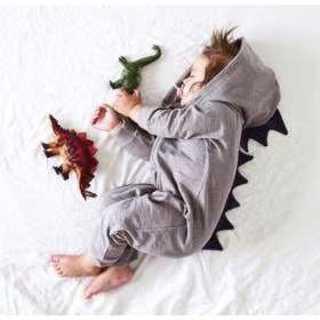 122 怪獣 恐竜 ロンパース 90 男の子 女の子 ベビー服 グレー(パジャマ)