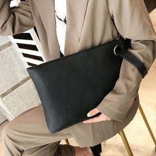 227 クラッチバッグ セカンドバッグ メンズ 軽い 大きめ スクエア 黒(ビジネスバッグ)