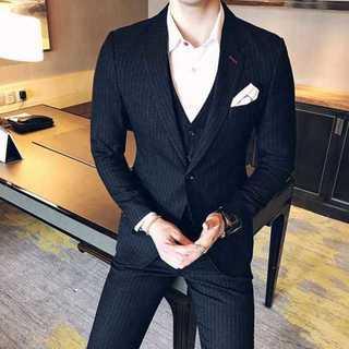 Man スーツメンズ ストライプスーツジャケット 紳士 セットアップzb319(セットアップ)