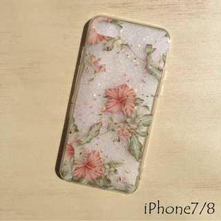 花柄 iPhone ケース iPhoneカバー 透明 クリア ホワイト 7/8(iPhoneケース)