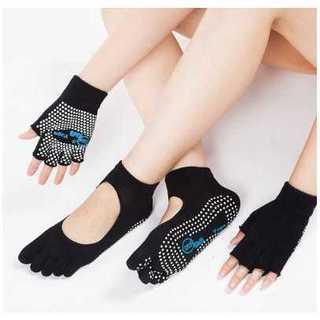 5本指 靴下 手袋 セット ソックス コットン 5本指ソックス パープル(ソックス)