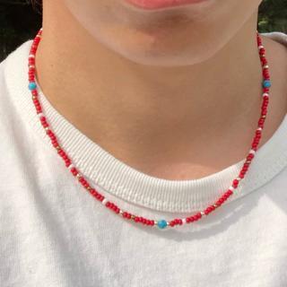 赤 40cm ショート ビーズネックレス メンズ レディース ネックレス(ネックレス)