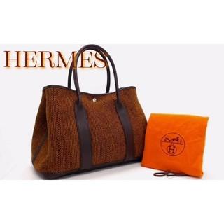 エルメス(Hermes)の新品並極美 エルメス ガーデンパーティPM ウール×レザー SV金具 □G刻印(トートバッグ)