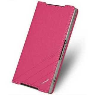 スマホケース ピンク Xperia Z2 手帳型 レザー スタンド機能 シンプル(Androidケース)