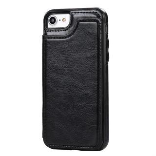 【iPhone7/8 ブラック】iPhoneケース カード収納付き(iPhoneケース)