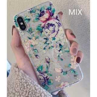花柄 iPhone ケース 透明 クリア ミックス 7Plus/8Plus(iPhoneケース)