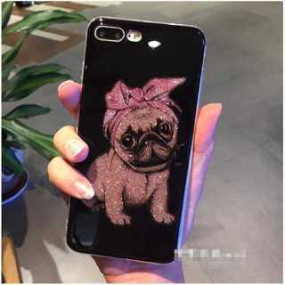 iPhoneケース パグ iPhone7/8 ケース キラキラ ピンク ラメ(iPhoneケース)