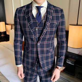 メンズスーツセットアップ チェック柄 着痩せ 紳士 zb495(セットアップ)