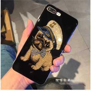 iPhoneケース パグ iPhone7/8 ケース キラキラ ゴールド ラメ(iPhoneケース)