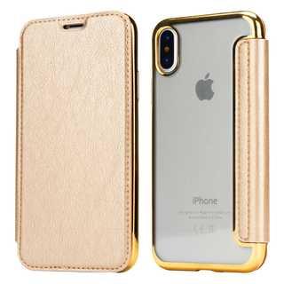 手帳型 アイフォンカバー iPhonexs/x ケース ゴールド(iPhoneケース)