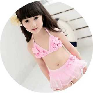 女の子 水着 ビキニ フリル 花柄 可愛い キッズ ピンクリボン 子供(水着)