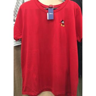 ミッキーマウス(ミッキーマウス)の新品 ミッキー 刺繍 赤 3L レディース  tシャツ 大きいサイズ ディズニー(Tシャツ(半袖/袖なし))