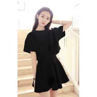 ガーリー ファッション トップス スカート 女性 スーツ 黒 ブラック セット(ミニスカート)