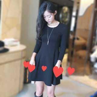 ブラック 長袖 プリンセス ワンピース 短いスカート レディース 生地 厚め(ミニワンピース)