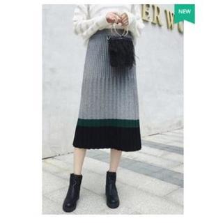 灰色 ハイウエスト 鮮やかなカラーの プリーツスカート ♪(ひざ丈スカート)