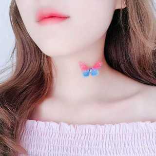チョーカー ネックレス かわいい 上品 シンプル バタフライ ブルー ピンク(ネックレス)