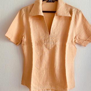 麻100% ナチュラルブラウス 夏涼しい 半袖(シャツ/ブラウス(半袖/袖なし))