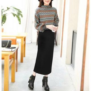 新品☆3L(大きいサイズ)黒シンプルラインのロングスカート(ロングスカート)