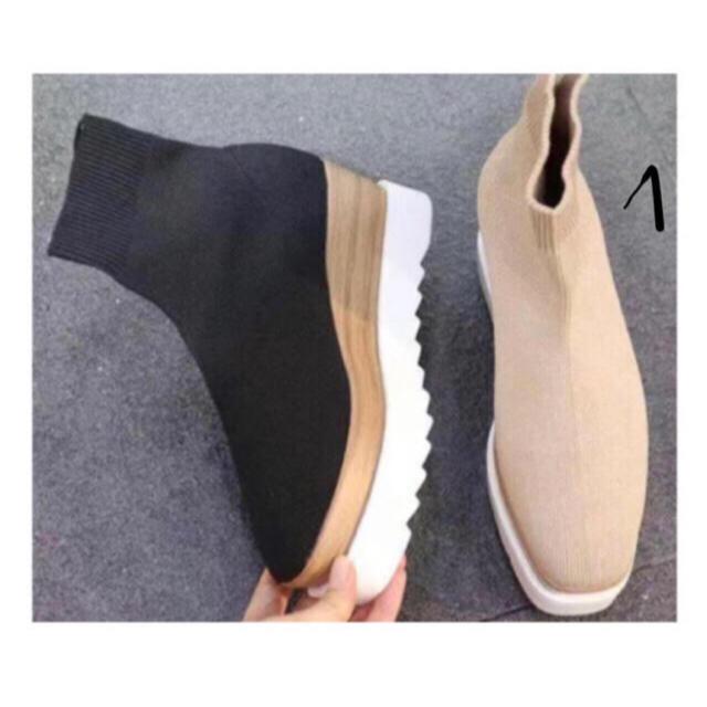 ZARA(ザラ)のソックスブーツ 最安値 ブラック 22.5 24  レディースの靴/シューズ(ブーツ)の商品写真