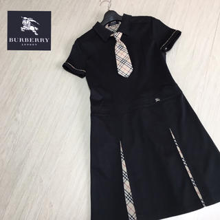 BURBERRY - 美品☆バーバリーロンドン 定番チェック柄 半袖ワンピース ネクタイ付き 160A