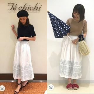 サマンサモスモス(SM2)の【テチチ】リネン混 刺繍スカート(ロングスカート)
