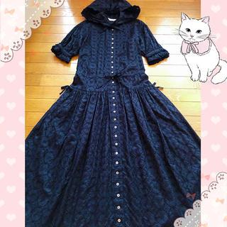 PINK HOUSE - ピンクハウス♡フードが可愛い お花総刺繍の半袖ワンピース♡カネコイサオ ゴスロリ
