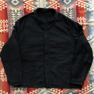 40-50年代 ブラックモールスキンジャケット Vポケット moleskin(カバーオール)