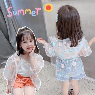 KUCS046夏子供服 日焼け止め 虫よけ 刺繍 UVカット パーカー