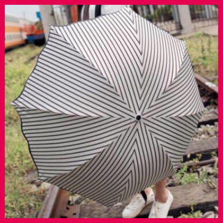 晴雨兼用 折りたたみ傘 ストライプ コンパクト アンブレラ(傘)