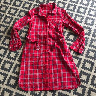 イングファースト(INGNI First)のFirst イングファースト ロングシャツ シャツワンピ 160 赤 チェック(ワンピース)