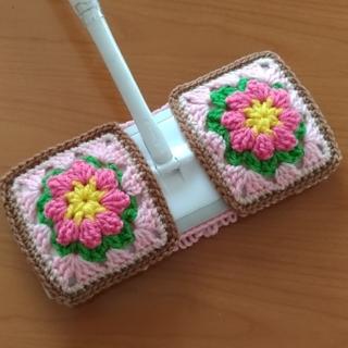 アクリルモップ(ぷっくりお花)ピンク①(キッチン小物)