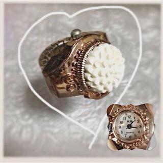 古着屋白ホワイトフラワーミニ時計リング(リング(指輪))