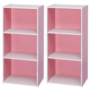 お得!!♡おしゃれ可愛い♡ カラーボックス 3段 ピンク&ホワイト 2個