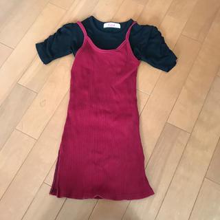 イングファースト(INGNI First)のFirst 黒 Tシャツ エンジ タイトワンピース 2点セット 100→110(Tシャツ/カットソー)