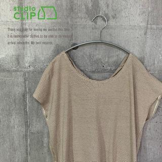 スタディオクリップ(STUDIO CLIP)のstudio CLIP 新品 ミジンボーダー後ろねじりプルオーバー BEG M(Tシャツ(半袖/袖なし))