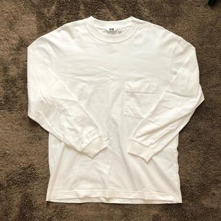 ユニクロ(UNIQLO)のユニクロ ロンT クールネック ホワイト(Tシャツ/カットソー(七分/長袖))