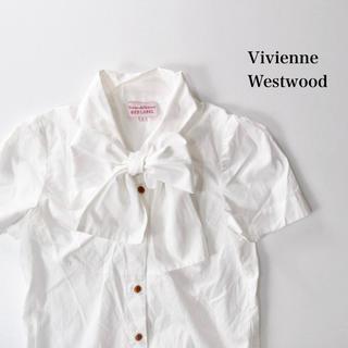Vivienne Westwood - ヴィヴィアンウエストウッド 刺繍 ロゴ入り ボウタイブラウス リボン シャツ