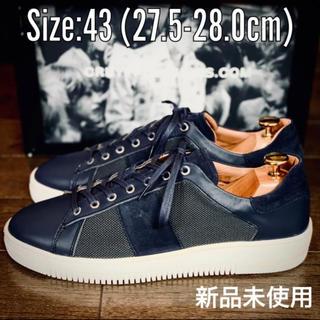【未使用】参考価格3.8万程度 高級レザー ネイビー 革靴 size:43