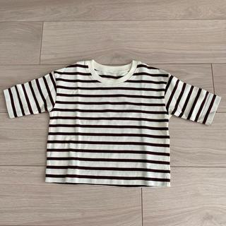 MUJI (無印良品) - 無印良品 ボーダー七分袖Tシャツ 80〜90cm