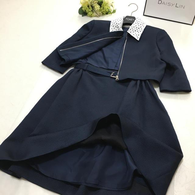 FOXEY(フォクシー)の美品 フォクシー FOXEY 最高級レース襟 フォーマル  スーツ セットアップ レディースのフォーマル/ドレス(スーツ)の商品写真