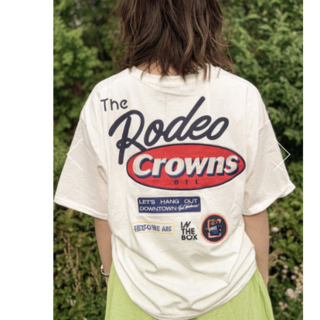 RODEO CROWNS WIDE BOWL - ロデオクラウンズ Mix big VネックTシャツ オフホワイト