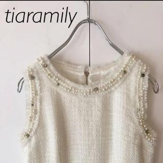 ティアラミリー(Tiara Mily)のTiara mily ツイードパールワンピース ホワイト(ひざ丈ワンピース)