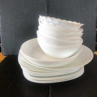 ヤマザキセイパン(山崎製パン)のARC アルク フランス ヤマザキパン 山崎パン 白いお皿まとめて 強化ガラス(食器)