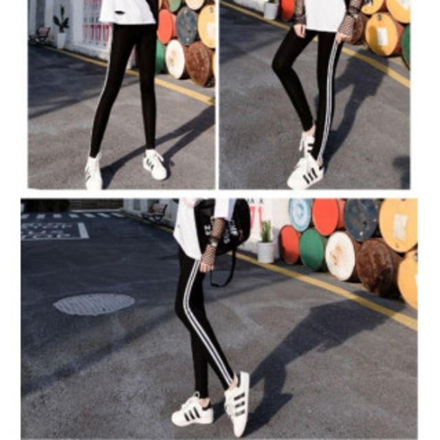 【数量限定】ラインレギンス サイドライン スパッツ スキニ- タイツ 黒 部屋着 レディースのレッグウェア(レギンス/スパッツ)の商品写真