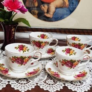 イギリス アンティーク ダッチェス バラ満開 カップ&ソーサー 3客 おまけ1客