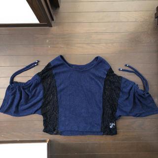 セシルマクビー(CECIL McBEE)のセシルマクビー 黒レース袖絞りカットソー(カットソー(長袖/七分))